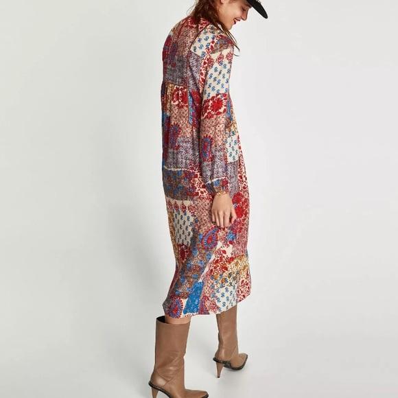 31aa8b4a Zara Dresses   New Boho Patchwork Paisley Midi Folk Dress Xs   Poshmark